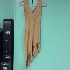 PRIVY TAN FAUX SUEDE ASYMMETRICAL FRINGE DRESS